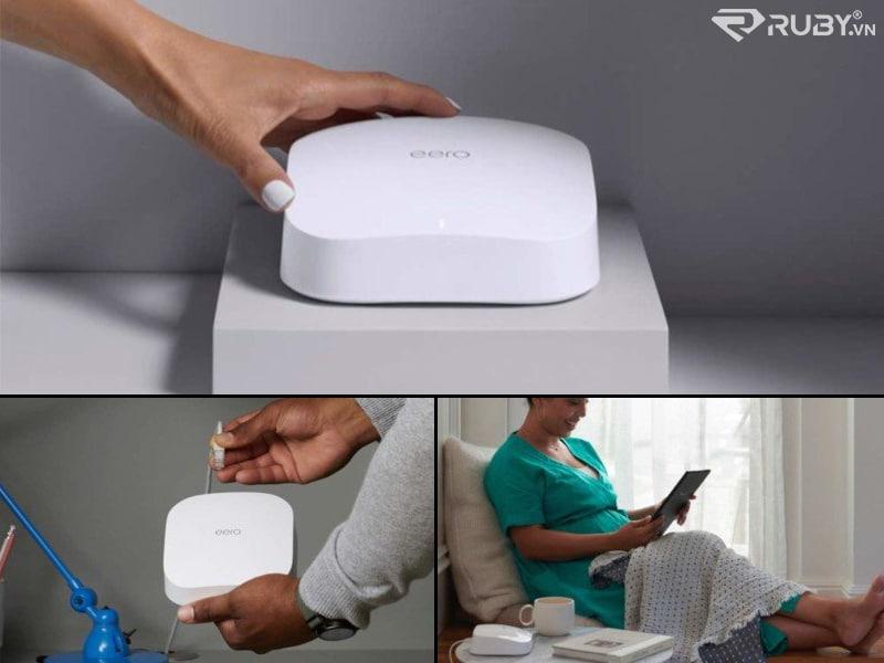 Bộ định tuyến Wifi lưới băng tần 3 tầng Amazon eero pro 6 màu trắng