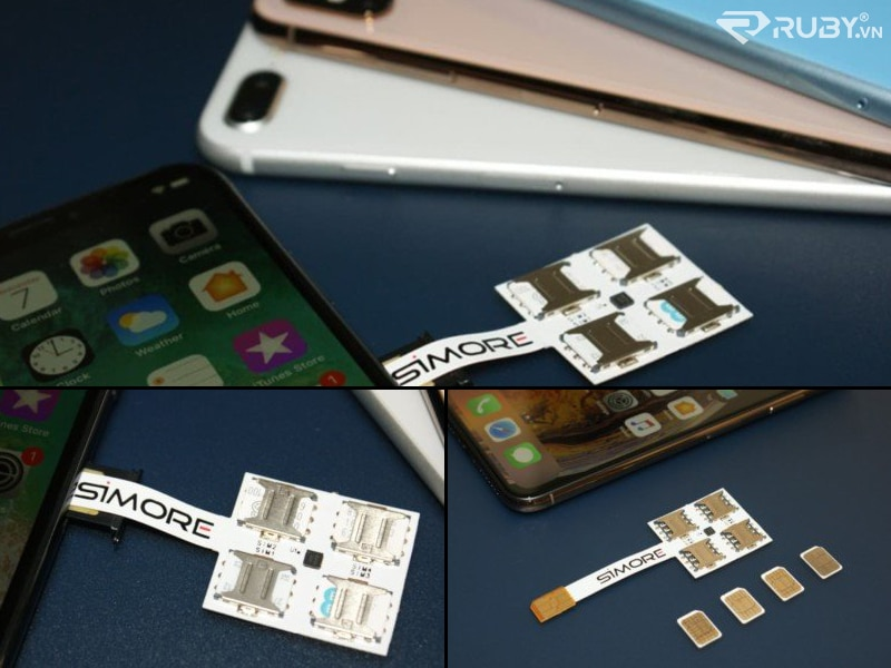 SIMore SpeedX-Four Hộp đựng bộ chuyển đổi đa SIM iPhone với điện thoại thông minh