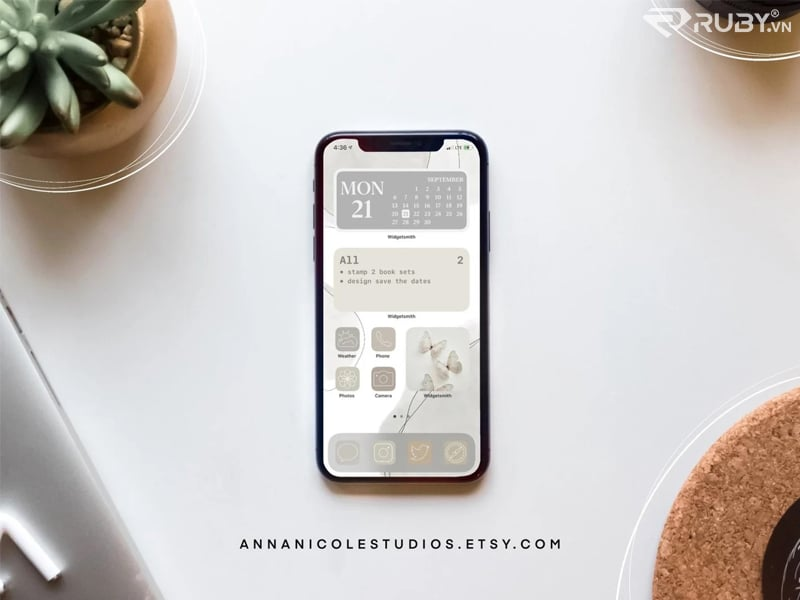 Màu xám trung tính thẩm mĩ Iphone Ios14