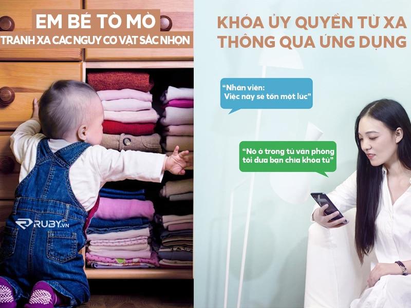 Khóa tủ thông minh bảo vệ trẻ em và có thể ủy quyền mở khóa từ xa