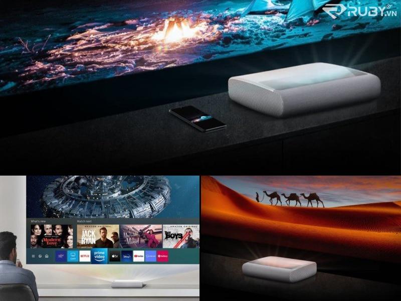 """Samsung 130 """"Máy chiếu thông minh 4K Premiere chiếu phim"""