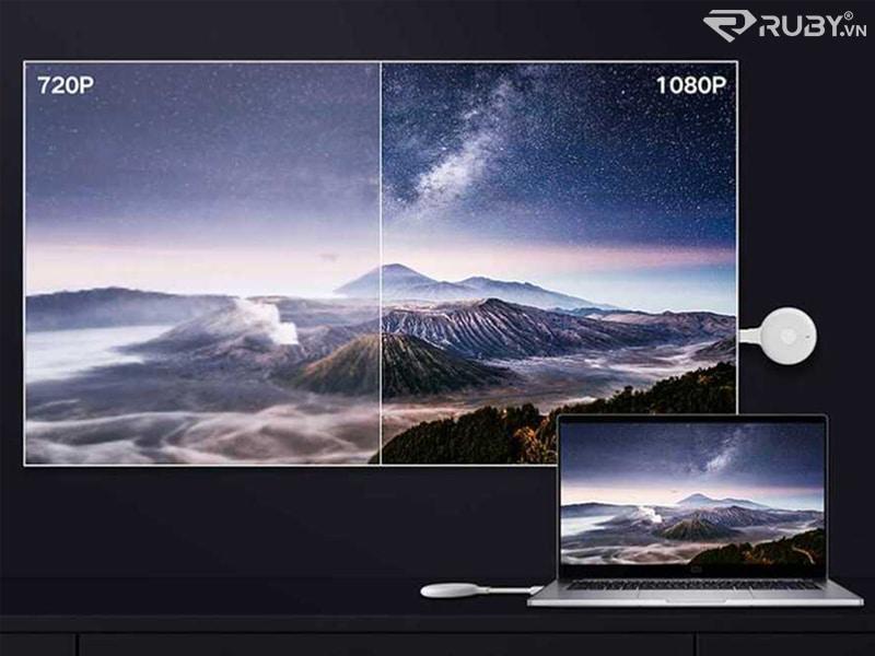 hình ảnh máy tính truyền qua màn hình lớn thông qua adapter chuyển đổi xiaomi