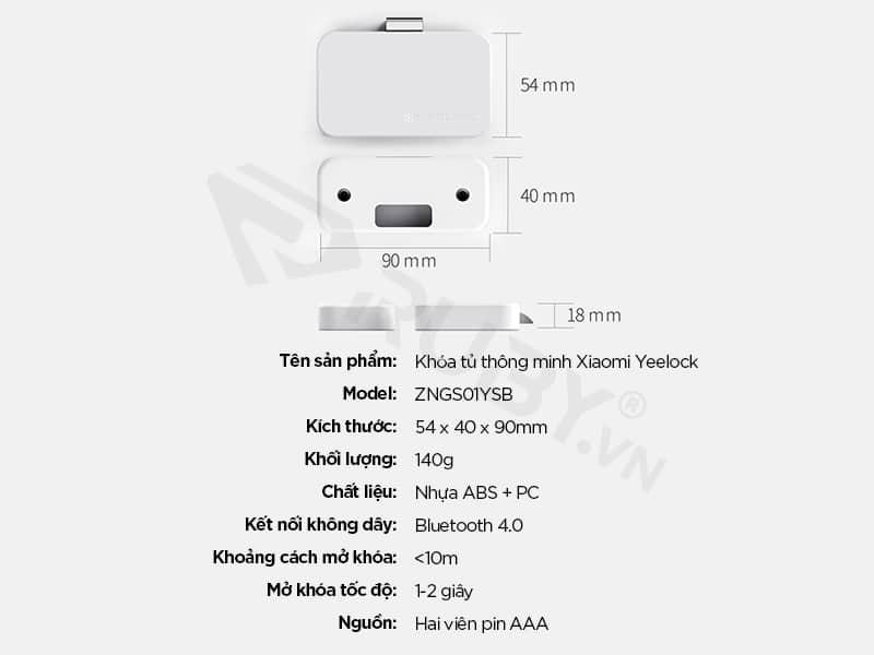 Thông số kỹ thuật Khóa tủ thông minh Xiaomi Yeelock ZNGS01YSB