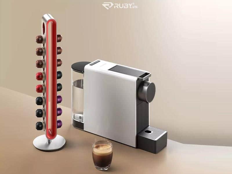 giá đựng viên nén và máy pha cà phê mini