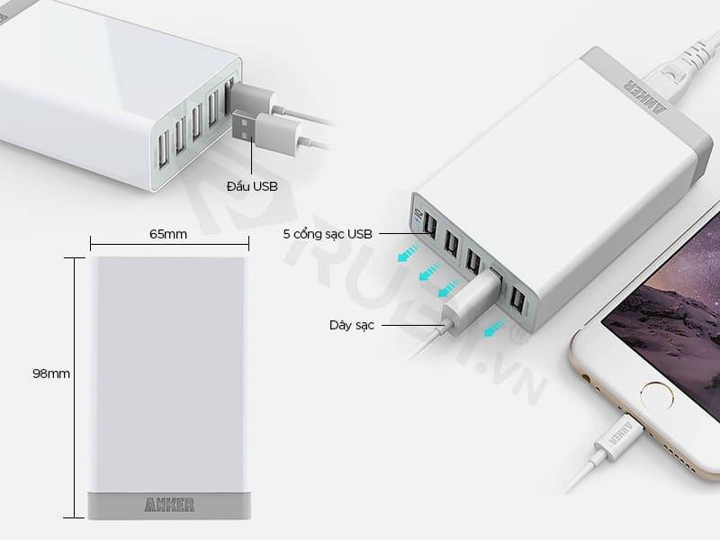 Cấu tạo chi tiết Bộ sạc 5 cổng USB Anker