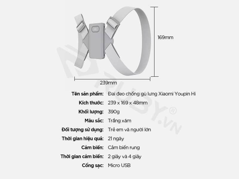 Thông số kỹ thuật Đai đeo chống gù lưng Xiaomi Youpin Hi