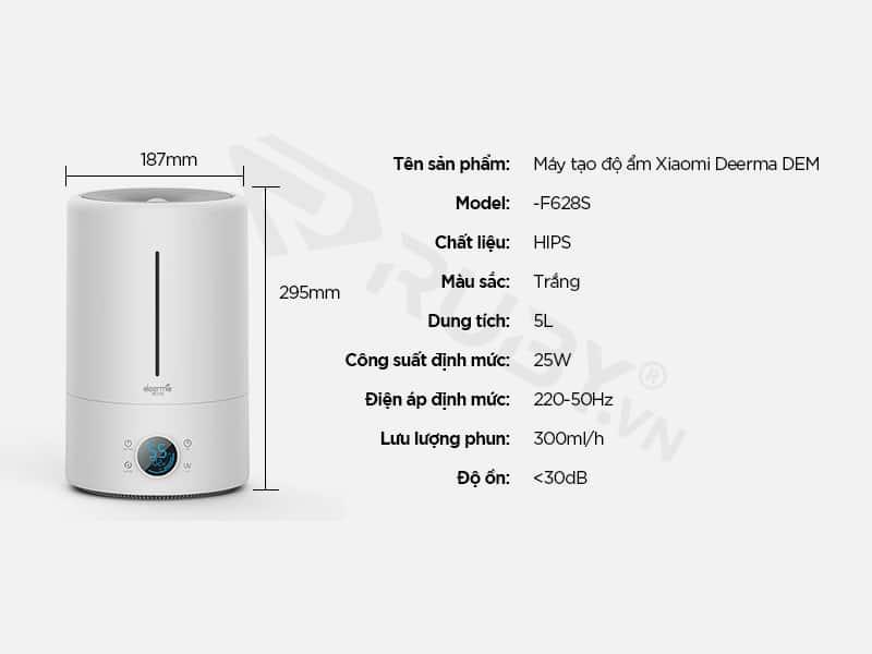Thông số kỹ thuật Máy tạo độ ẩm Xiaomi DEM F628S