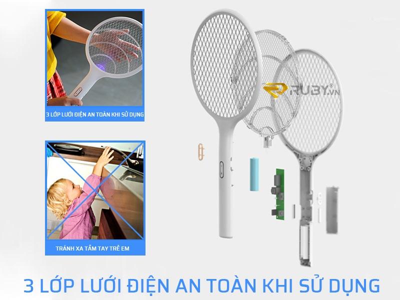 Vợt bắt muỗi Xiaomi có thiết kế 3 lớp lưới điện an toàn