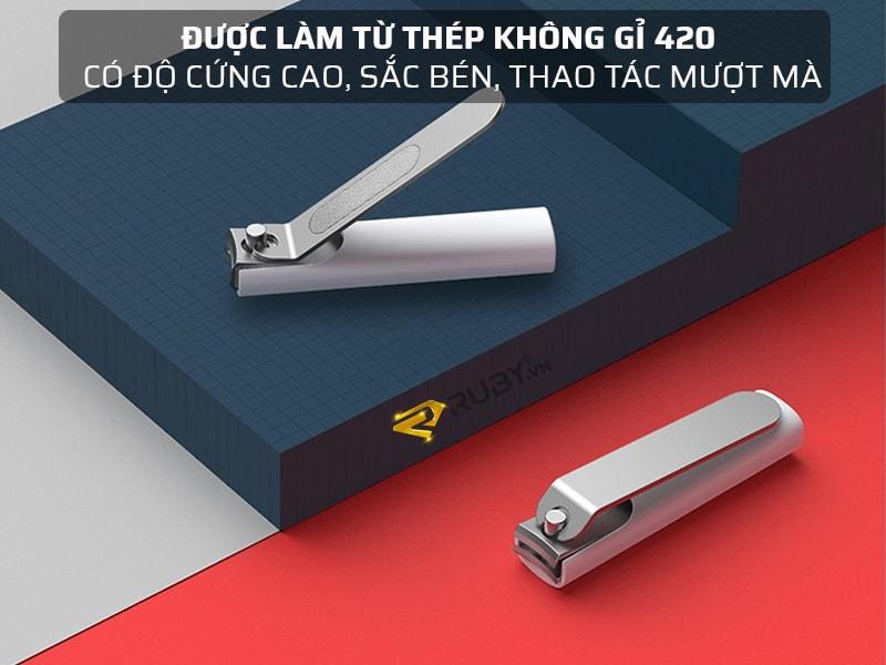 Bấm móng tay Xiaomi Mijia làm từ thép không gỉ 420 có độ cứng cao