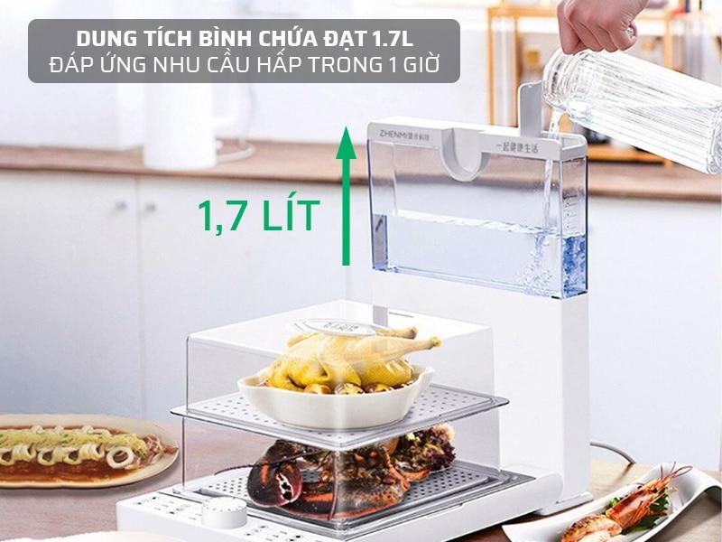 Dung tích bình chứa 1.7L, đáp ứng nhu cầu hấp trong vòng 1 giờ