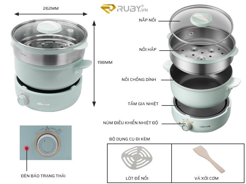 Cấu tạo chi tiết nồi lẩu điện đa năng Bear DHG-B25B2
