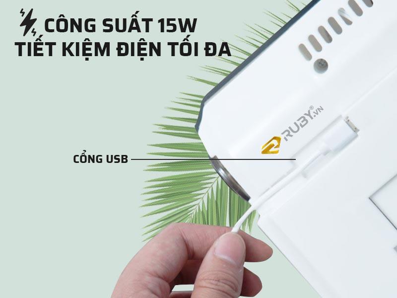 Công suất 15W, tiết kiệm điện