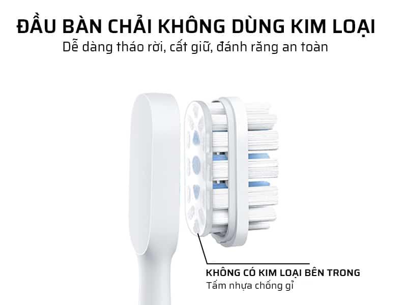 Đầu bàn chải đánh răng điện không dùng kim loại