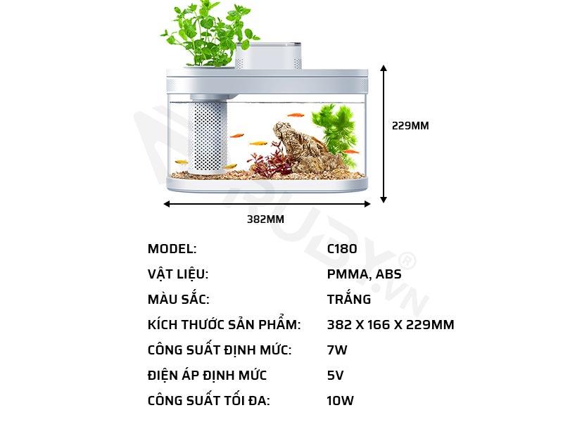 Thông số kỹ thuật của bể cá thủy sinh thông minh Xiaomi Tank Pro