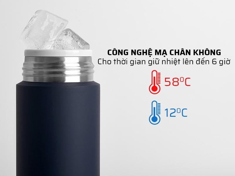 Ly giữ nhiệt được mạ chân không giúp giữ nhiệt lâu trong vòng 6 giờ