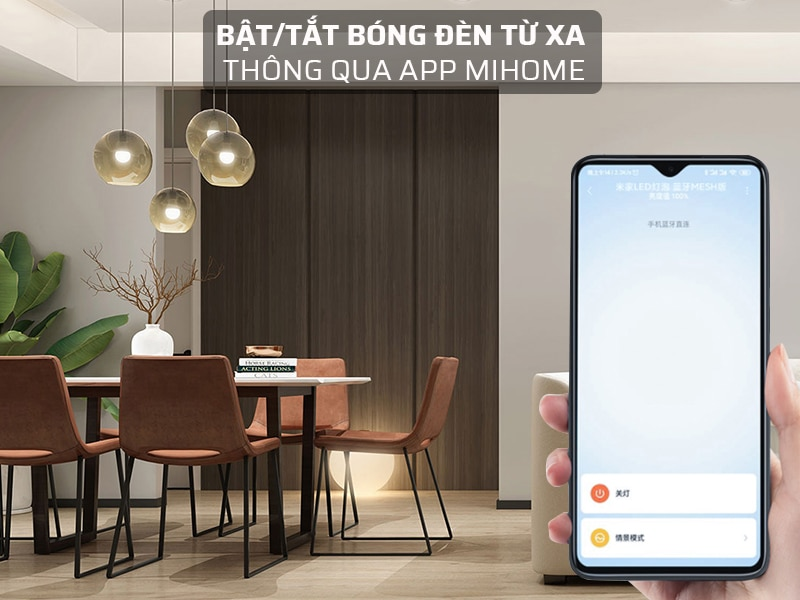 bật/tắt bóng đèn led 5W thông qua app Mihome