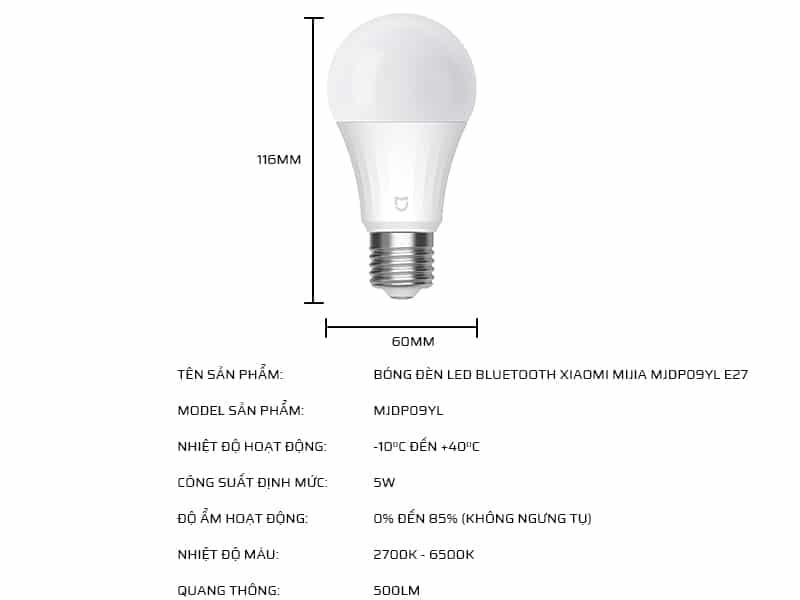 Thông số kỹ thuật bóng đèn LED Bluetooth Xiaomi Mijia MJDP09YL E27
