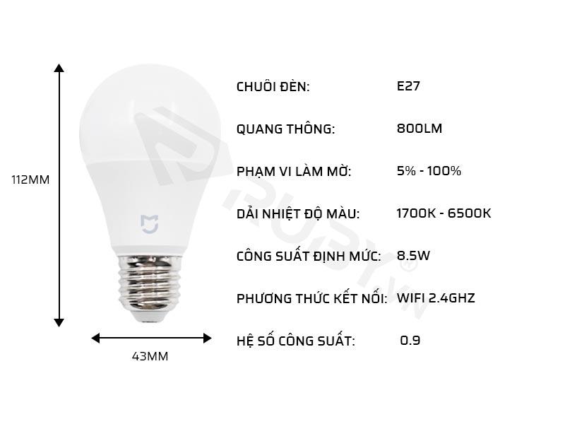 Thông số kỹ thuật bóng đèn thông minh Xiaomi Yeelight YLDP26YL M2 4W