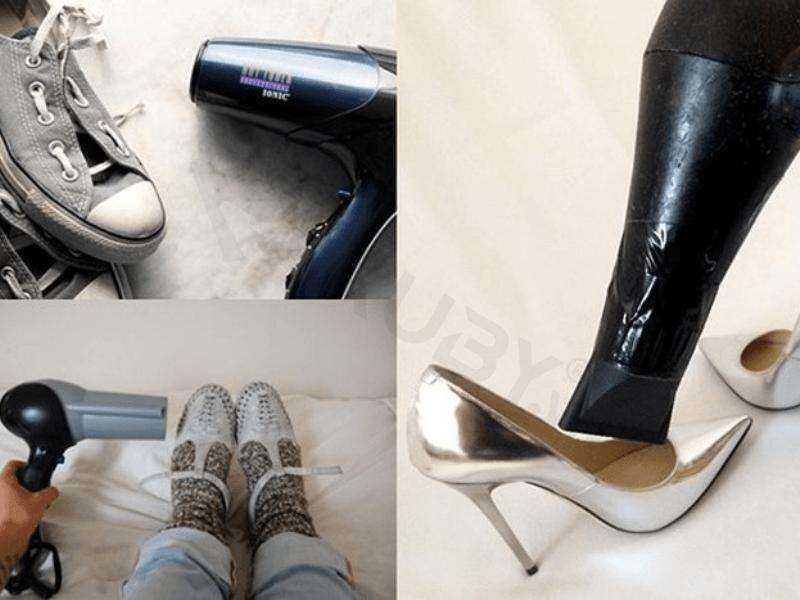 Cách làm giày khô bằng máy sấy tóc