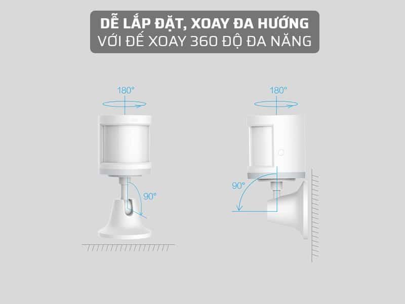 bóng đèn cảm biến người có thể xoay đa hướng