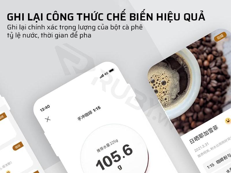 Cân nấu ăn Xiaomi ghi lại công thức chế biến hiệu quả
