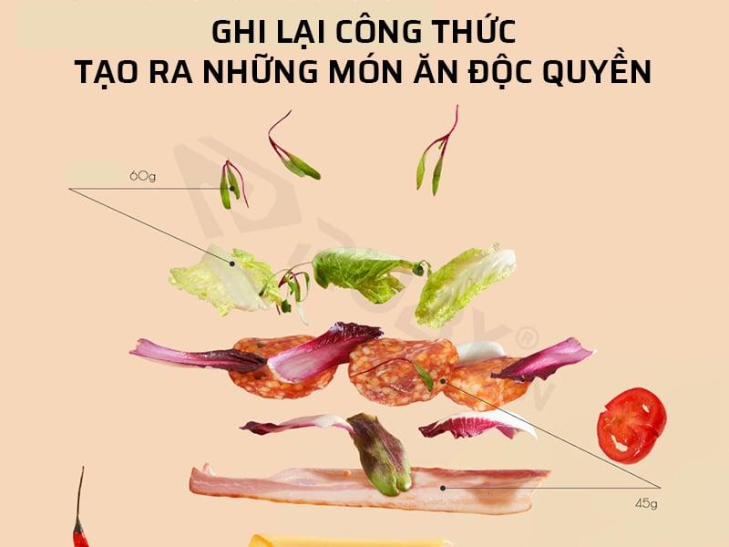 Cân điện tử mini 3kg cầm tay Hoto ghi lại công thức những món ăn độc quyền