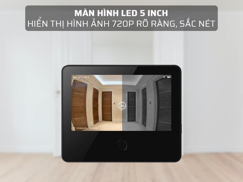 chuông cửa có màn hình LED 5 inch hiển thị hình ảnh 720P