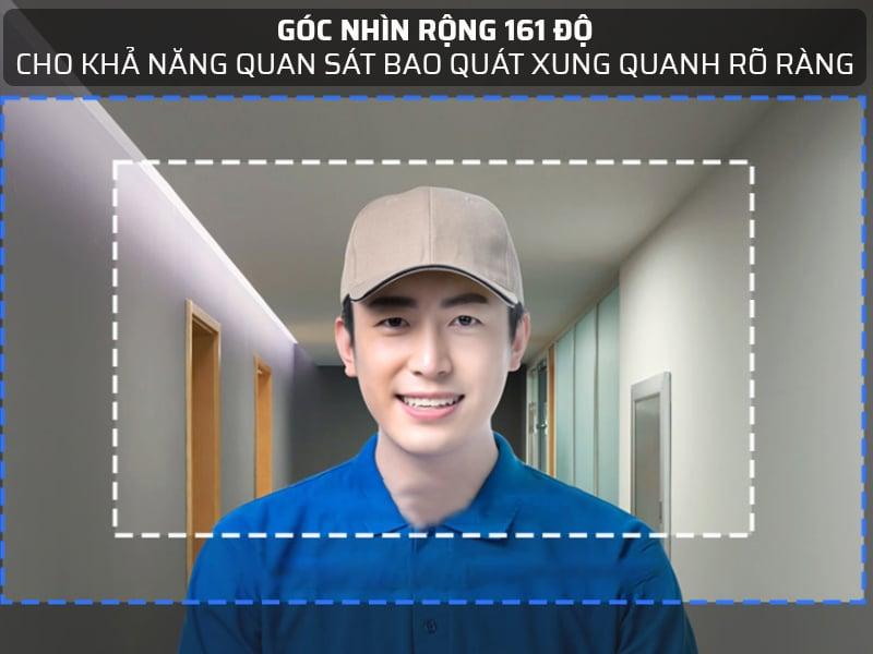 Góc nhìn 161 độ, cho phép chuông cửa có màn hình Xiaomi bao quát xung quanh