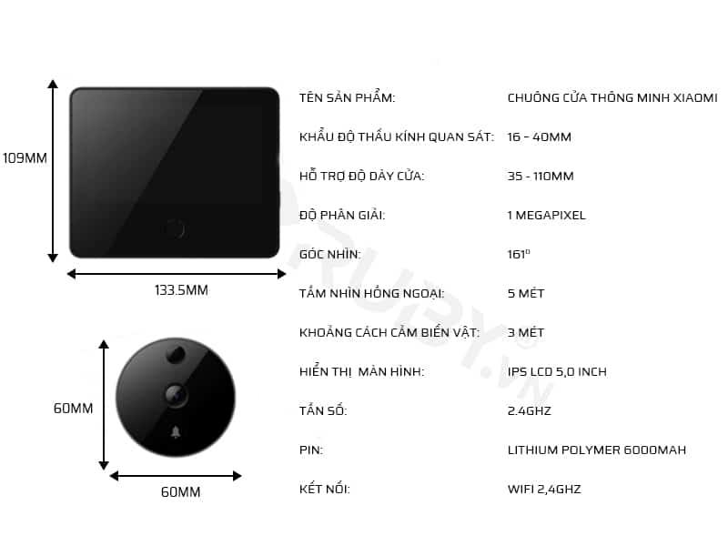 Thông số kỹ thuật của chuông cửa thông minh Xiaomi Cat Eye LSC-M01
