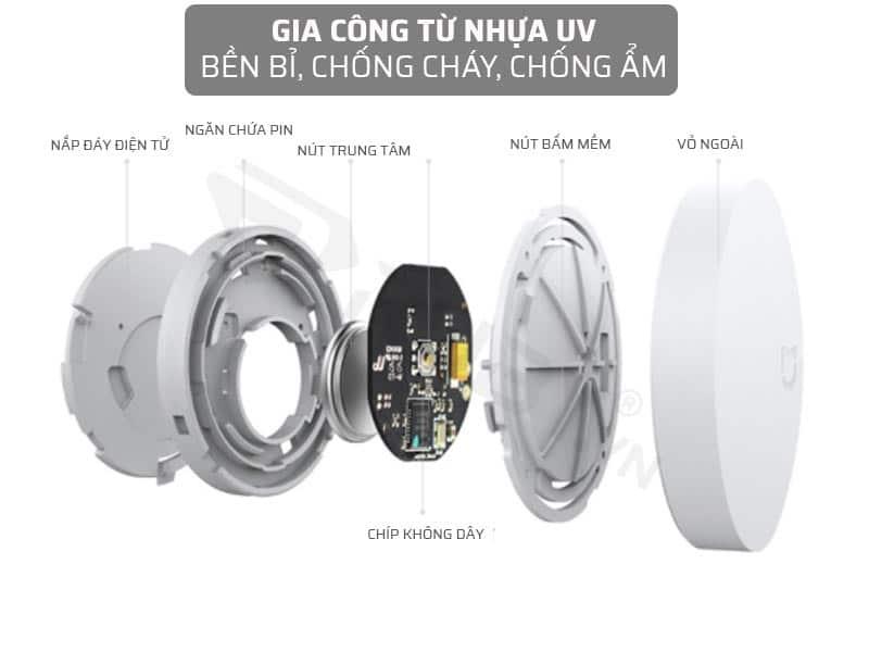 công tắc cảm ứng wifi gia công từ nhựa UV bền bỉ, chống cháy, chống ẩm