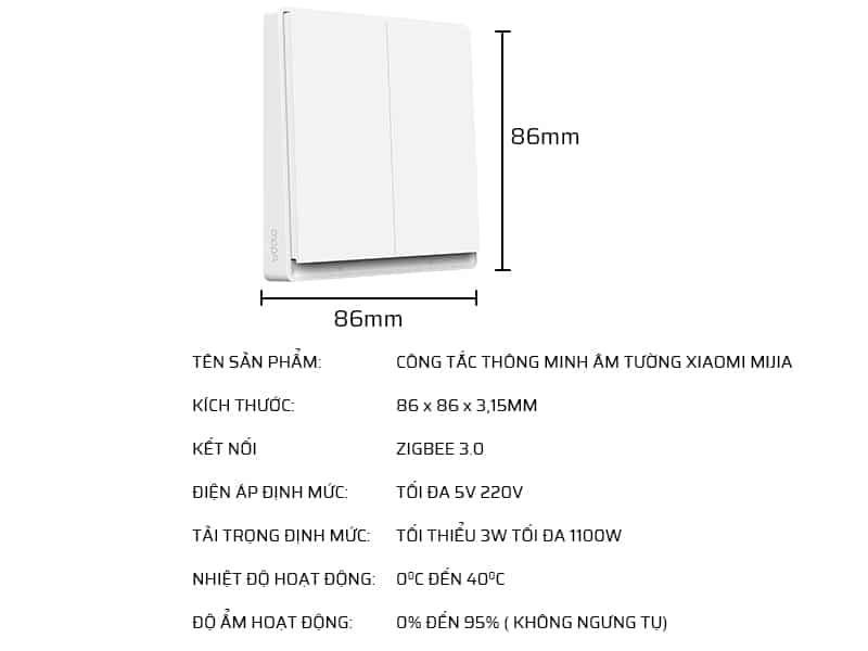 Thông số kỹ thuật công tắc thông minh âm tường Xiaomi Mijia MJKG01-2YL