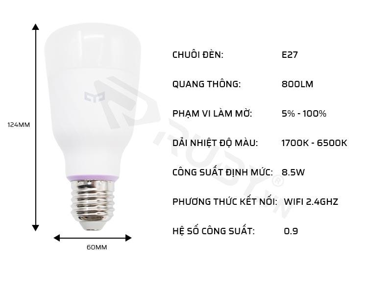 Thông số kỹ thuật của đèn LED thông minh Xiaomi Yeelight 1S YLDP13YL 8.5W