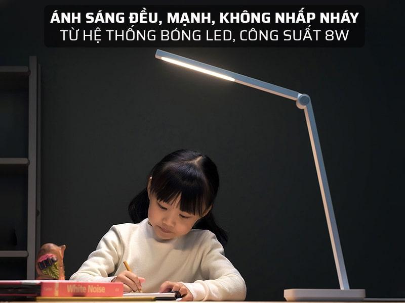 đèn bàn thông minh xiaomi có ánh sáng, đều, mạnh, không nhấp nháy