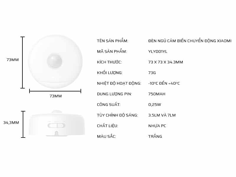 Thông số kỹ thuật đèn ngủ cảm biến chuyển động Xiaomi Yeelight YLYD01YL