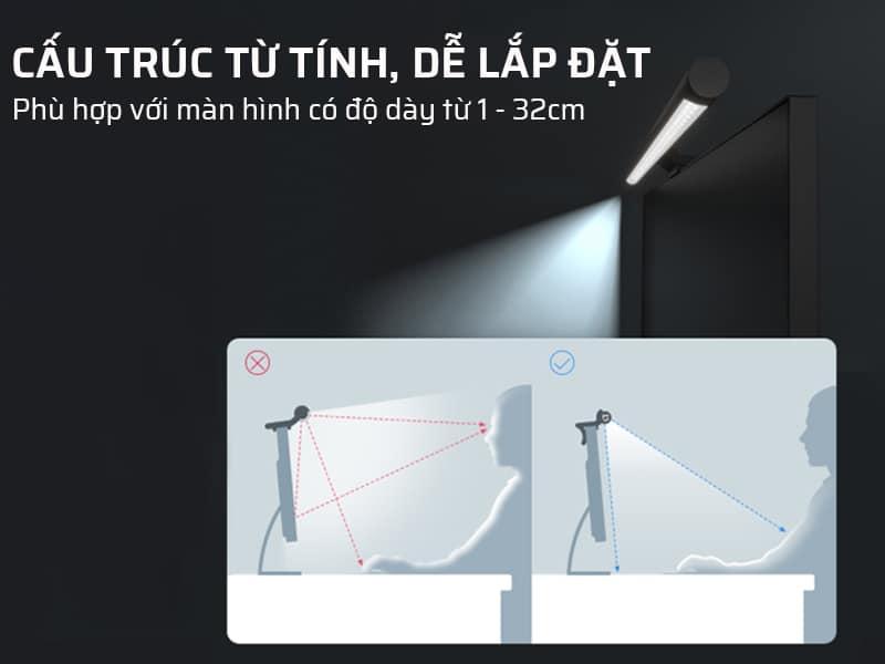 Đèn kẹp màn hình có cấu trúc từ tính, dễ lắp đặt