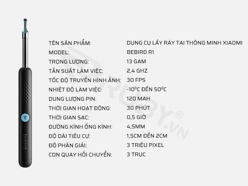 Thông số kỹ thuật dụng cụ lấy ráy tai thông minh Xiaomi Bebird R1