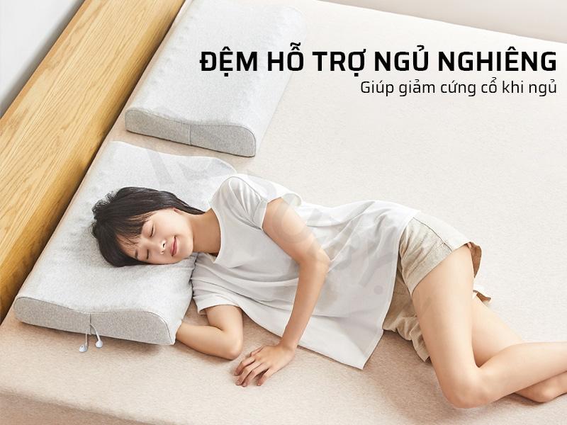 Gối kê cổ cao su non có đệm hỗ trợ ngủ nghiêm, giúp giản cứng cổ khi ngủ