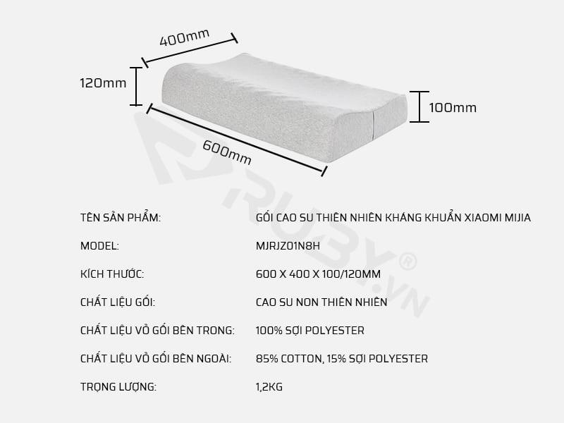 Thông số kỹ thuật gối cao su non kháng khuẩn Xiaomi Mijia MJRJZ01N8H