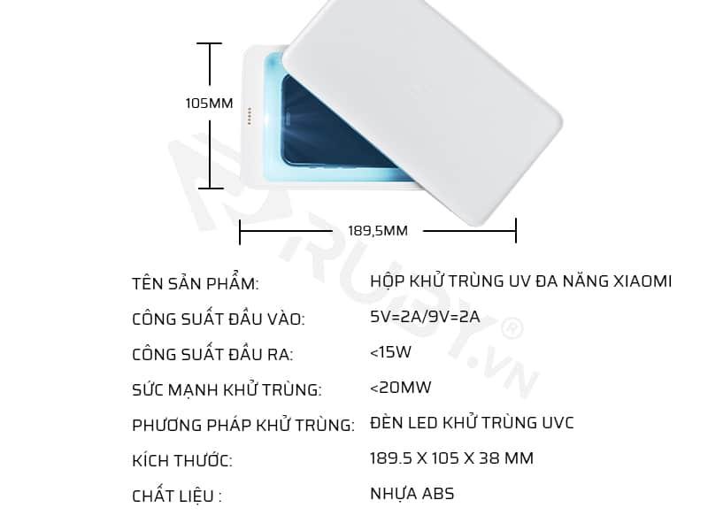 Thông số kỹ thuật hộp khử trùng UV đa năng Xiaomi FIVE YSXDH001WX