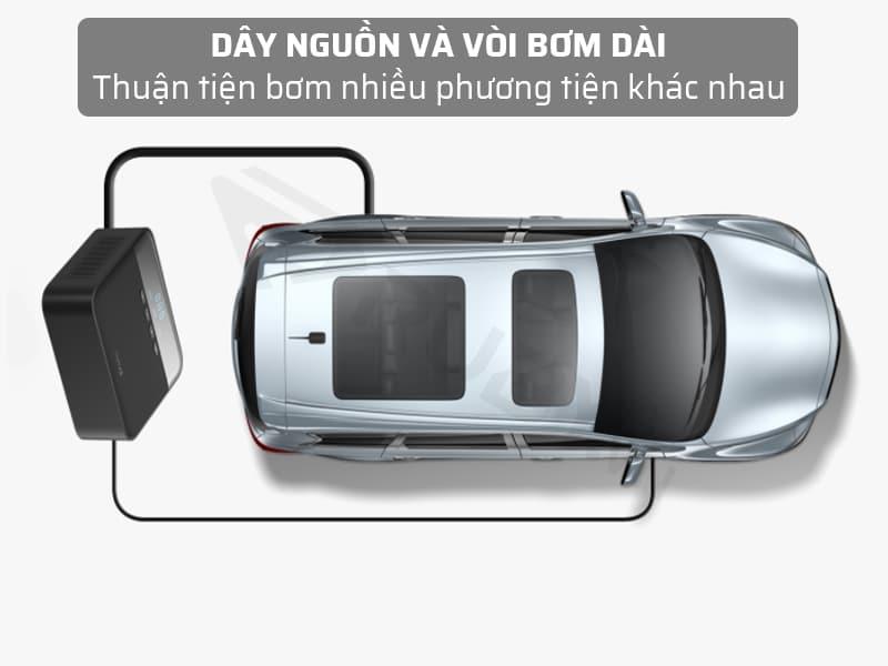 bơm hơi xe máy Xiaomi có dây nguồn dài