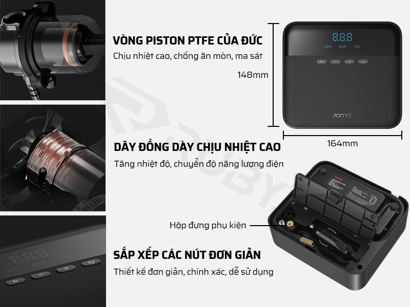 Cấu tạo chi tiết máy bơm lốp ô tô Xiaomi 70mai Midrive TP03 12V