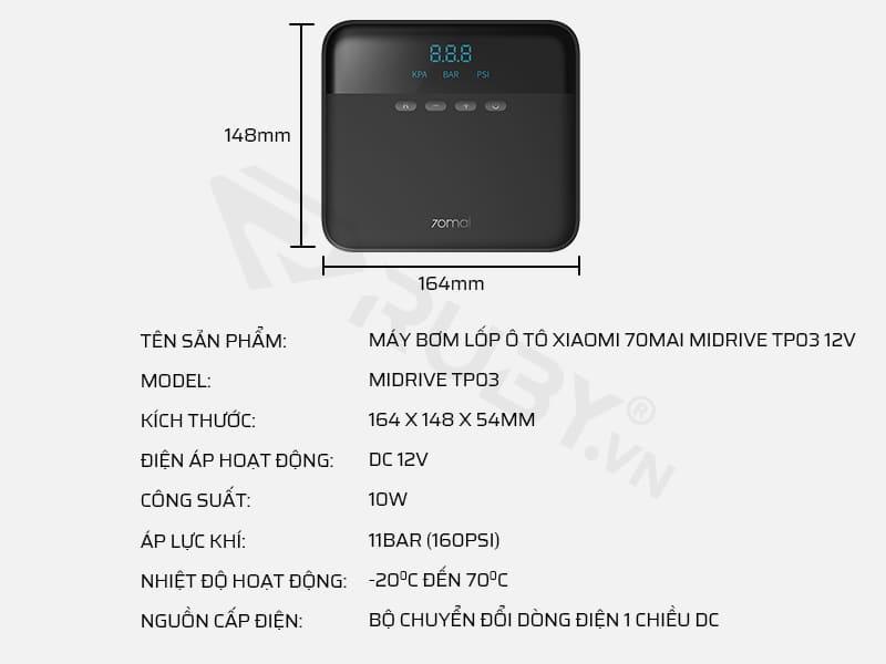 Thông số kỹ thuật máy bơm lốp ô tô Xiaomi 70mai Midrive TP03 12V