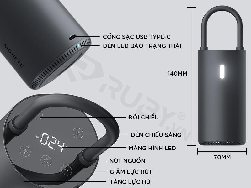 Cấu tạo chi tiết máy bơm lốp ô tô Xiaomi Mojietu 150PSI