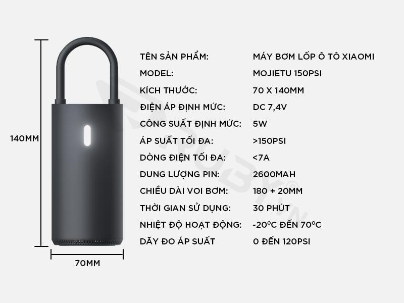 Thông số kỹ thuật máy bơm lốp ô tô Xiaomi Mojietu 150PSI
