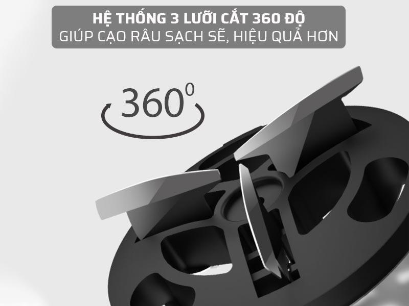 Hệ thống 3 lưỡi cắt 360 độ, giúp cạo râu sạch sẽ, hiệu quả hơn