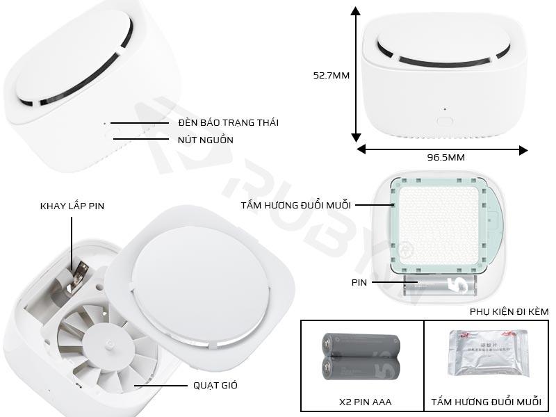 Cấu tạo chi tiết máy đuổi muỗi thông minh Xiaomi Mijia