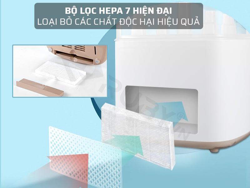Máy tiệt trùng hâm sữa Bearo sử dụng bộ lọc HEPA 7 hiện đại