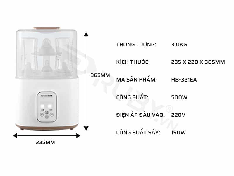 Thông số kỹ thuật của máy hâm sữa 3 in 1 cho bé Bearo