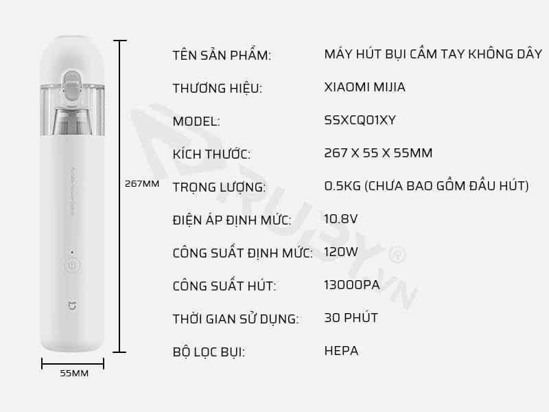 Thông số kỹ thuật máy hút bụi cầm tay không dây Xiaomi Mijia SSXCQ01XY
