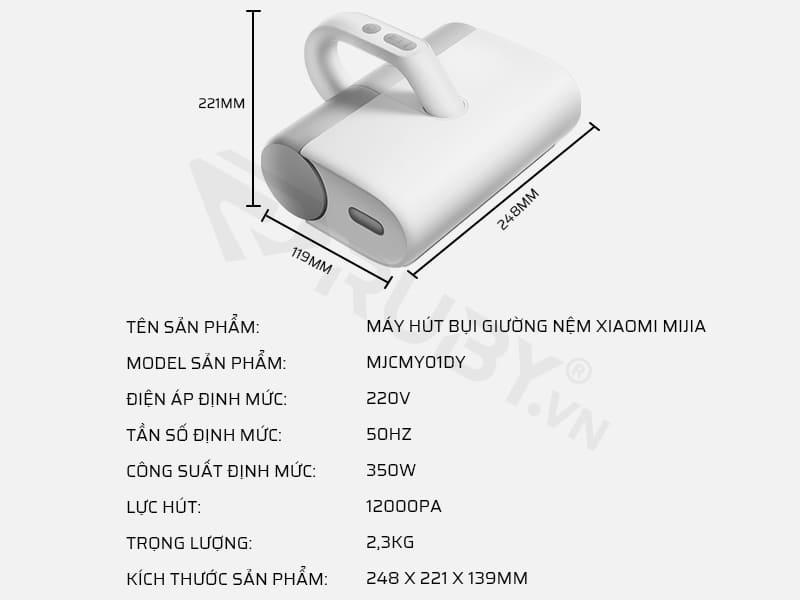 Thông số kỹ thuật máy hút bụi giường nệm Xiaomi Mijia MJCMY01DY